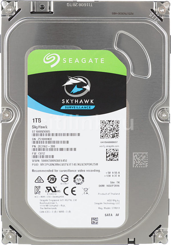 Жесткий диск SEAGATE Skyhawk ST1000VX005, 1Тб, HDD, SATA III, 3.5″